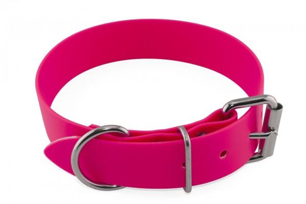 BioThane® Halsband – Rollschnalle – 38 mm – Neon-Pink
