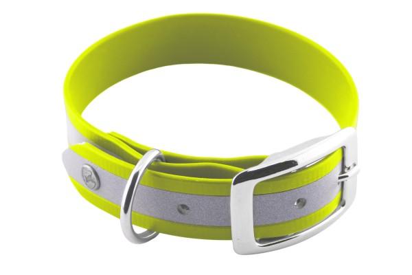 BioThane® Halsband – Dornschnalle – 25 mm Reflex – Neon-Gelb