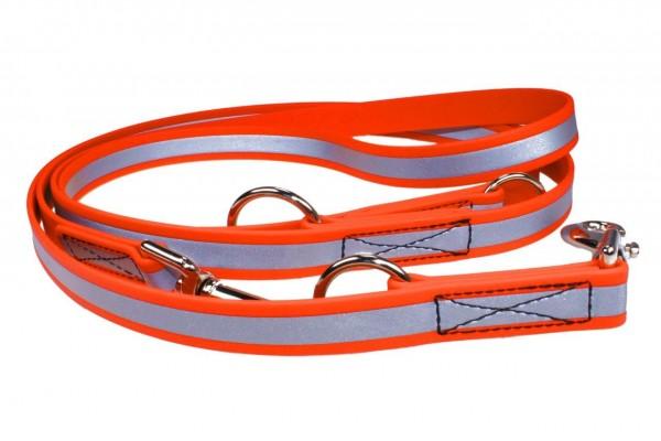 3-fach verstellbare BioThane® Führleine – 19 mm Reflex – Neon-Orange