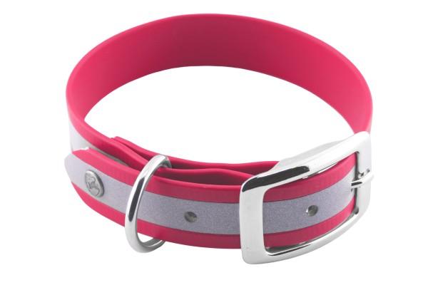 BioThane® Halsband – Dornschnalle – 25 mm Reflex – Neon-Pink