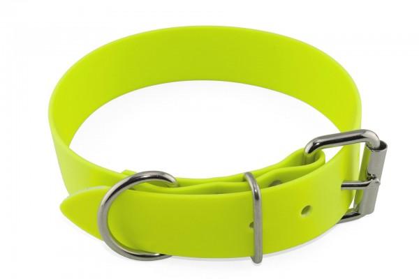 BioThane® Halsband – Rollschnalle – 38 mm – Neon-Gelb